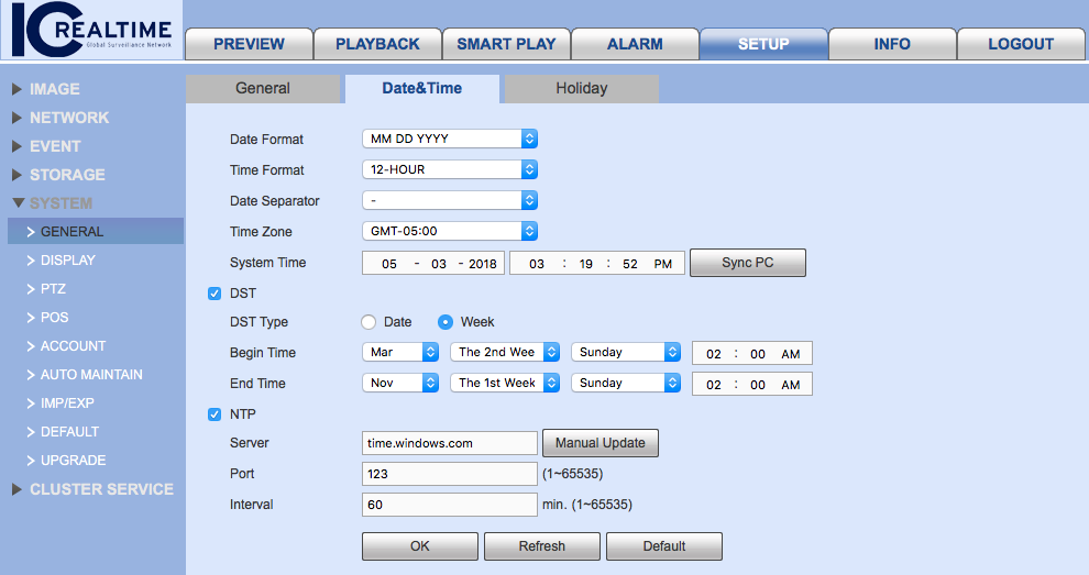 Web Interface Recorder Time Settings.png